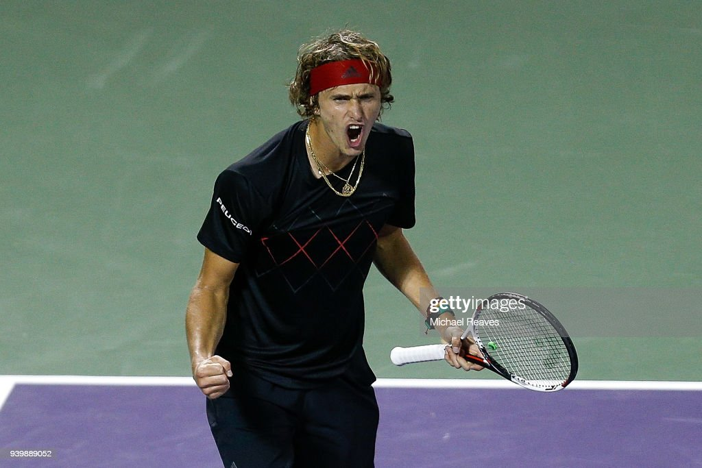 Alexander Zverev of Germany celebrates after defeating Borna Coric of Croatia in their quarterfinal match on Day 11 of the Miami Open Presented by Itau at Crandon Park Tennis Center on March 29, 2018 in Key Biscayne, Florida.