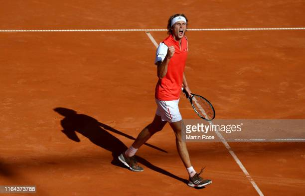 Alexander Zverev of Germany celebrates after defeating Filip Krajinovic of Serbia during day five of the Hamburg Open 2019 at Rothenbaum on July 26...
