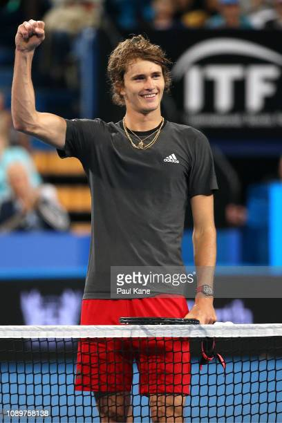 Alexander Zverev of Germany celebrates after defeating Matt Ebden of Australia during day seven of the 2019 Hopman Cup at RAC Arena on January 04...