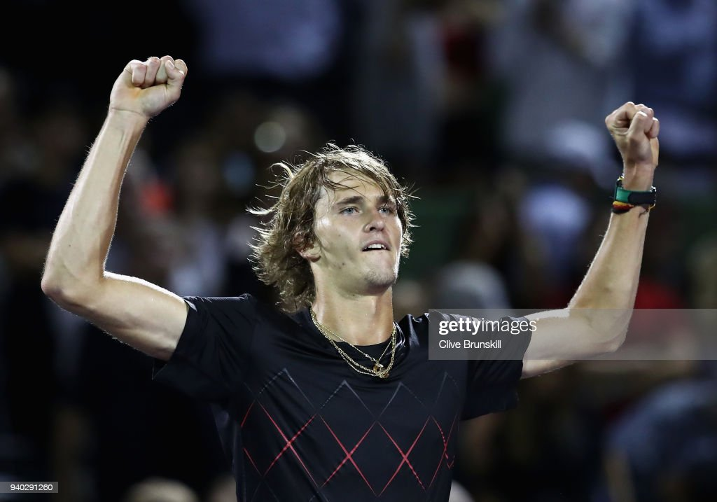 Alexander Zverev of Germany celebrates after his straight sets victory against Pablo Carreno Busta of Spain in their semifinal match during the Miami Open Presented by Itau at Crandon Park Tennis Center on March 30, 2018 in Key Biscayne, Florida.