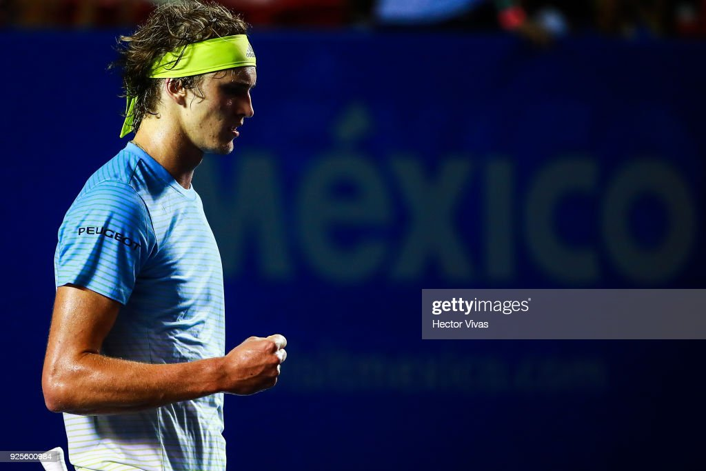 Alexander Zverev of Germany celebrates after winning a match against Steve Johnson of United States as part of the Telcel Mexican Open 2018 at Mextenis Stadium on February 27, 2018 in Acapulco, Mexico.