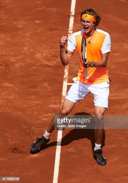 Alexander Zverev of Germany celebrates after winning a point in his match against Nicolas Almagro of Spain during the Day2 of the Barcelona Open Banc...