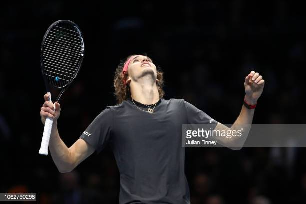 Alexander Zverev of Germany celebrates after winning match point in his semi finals singles match against Roger Federer of Switzerland during Day...