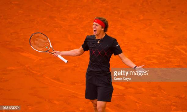 Alexander Zverev of Germany celebrates after winning the final against Dominic Thiem of Austriaduring day nine of the Mutua Madrid Open tennis...