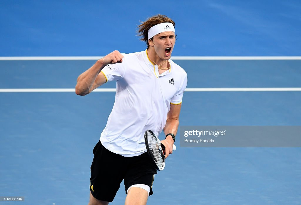 Alexander Zverev of Germany celebrates after winning the fourth set against Alex de Minaur of Australia during the Davis Cup World Group First Round tie between Australia and Germany at Pat Rafter Arena on February 2, 2018 in Brisbane, Australia.