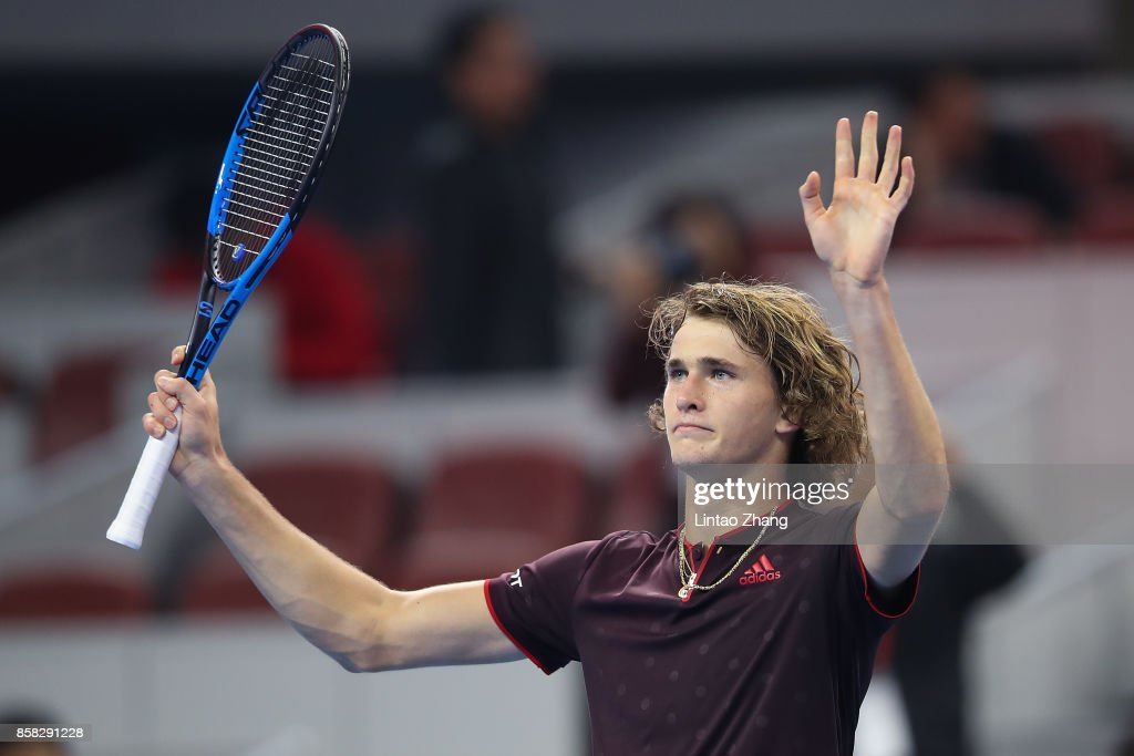 Alexander Zverev of Germany celebrates after winning the Men's singles Quarterfinals match against Andrey Rublev of Russia on day seven of 2017 China Open at the China National Tennis Centre on October 6, 2017 in Beijing, China.