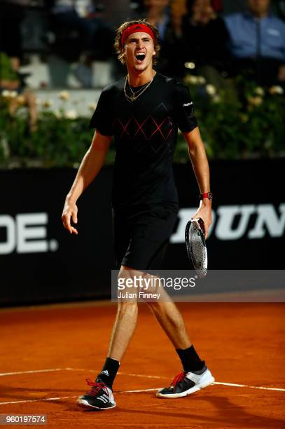 Alexander Zverev of Germany celebrates against Marin Cilic of Croatia in the semi finals during day seven of the Internazionali BNL d'Italia 2018...