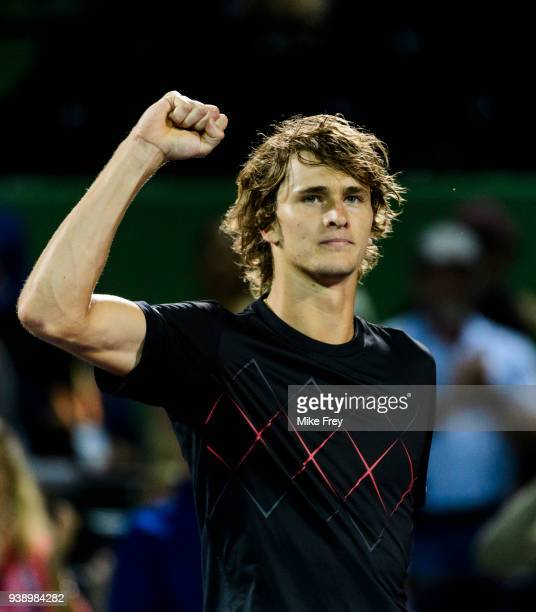 Alexander Zverev of Germany celebrates beating Nick Kyrgios of Australia 64 64 during Day 9 of the Miami Open Presented by Itau at Crandon Park...