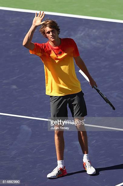 Alexander Zverev of Germany celebrates defeating Ivan Dodig of Croatia during day five of the BNP Paribas Open at Indian Wells Tennis Garden on March...