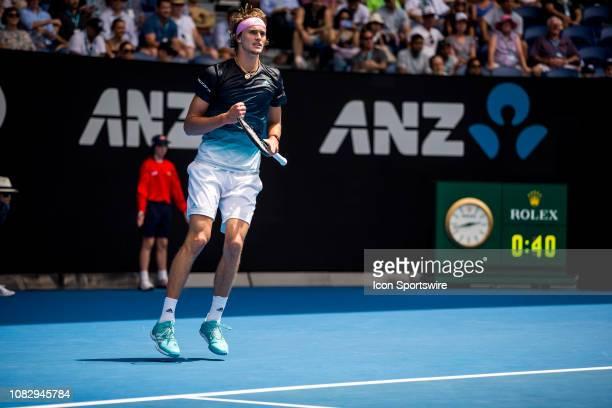 Alexander Zverev of Germany celebrates during day 2 of the Australian Open on January 15 2019 at Melbourne Park in Melbourne Australia