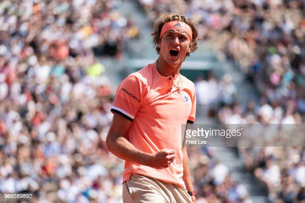 Alexander Zverev of Germany celebrates during the mens singles fourth round match against Karen Khachanov of Russia during day eight of the 2018...
