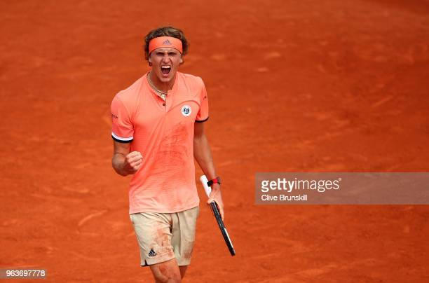 Alexander Zverev of Germany celebrates during the mens singles second round match against Dusan Lajovic of Serbia during day four of the 2018 French...