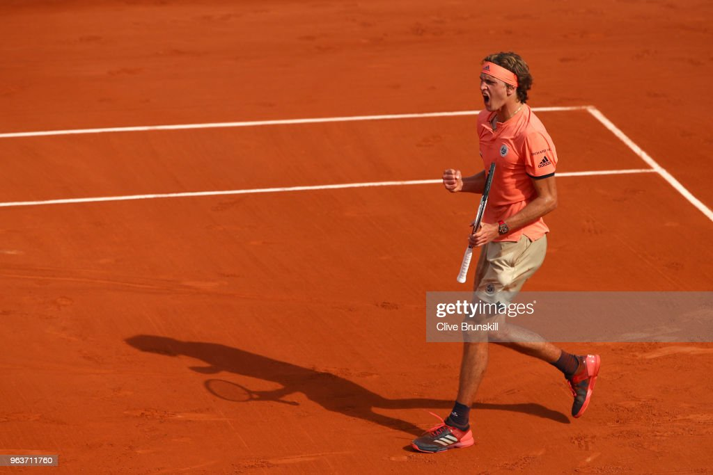 Alexander Zverev of Germany celebrates during the mens singles second round match against Dusan Lajovic of Serbia during day four of the 2018 French Open at Roland Garros on May 30, 2018 in Paris, France.