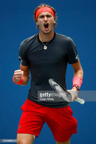 Alexander Zverev of Germany celebrates during the men's singles third round match against Philipp Kohlschreiber of Germany on Day Six of the 2018 US...