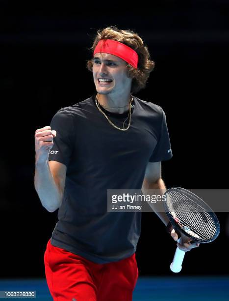 Alexander Zverev of Germany celebrates during the singles final against Novak Djokovic of Serbia during Day Eight of the Nitto ATP Finals at The O2...