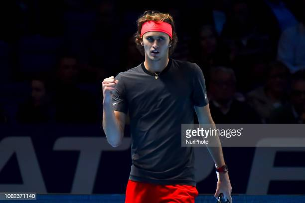 Alexander Zverev of Germany celebrates his victory in his round robin match against John Isner of the US during Day Six of the Nitto ATP Finals at...