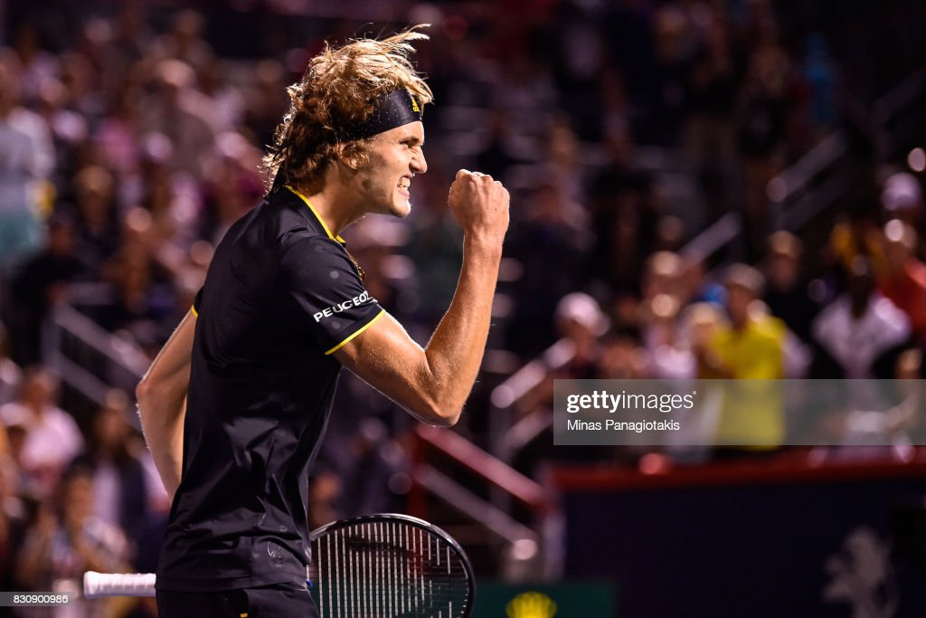 Alexander Zverev of Germany celebrates his victory over Denis Shapovalov of Canada during day nine of the Rogers Cup presented by National Bank at Uniprix Stadium on August 12, 2017 in Montreal, Quebec, Canada.