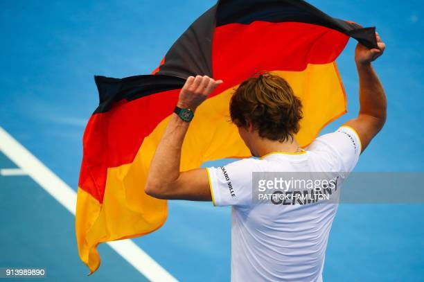 Alexander Zverev of Germany celebrates his victory over Nick Kyrgios of Australia following their forth round rubber of the Davis Cup World Group...