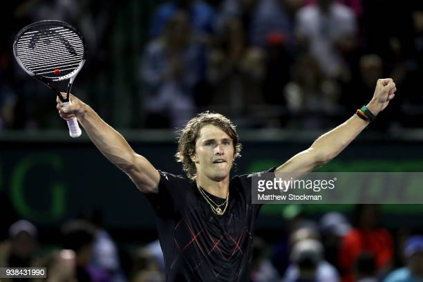 Alexander Zverev of Germany celebrates his win over David Ferrer of Spain during the Miami Open Presented by Itau at Crandon Park Tennis Center on...