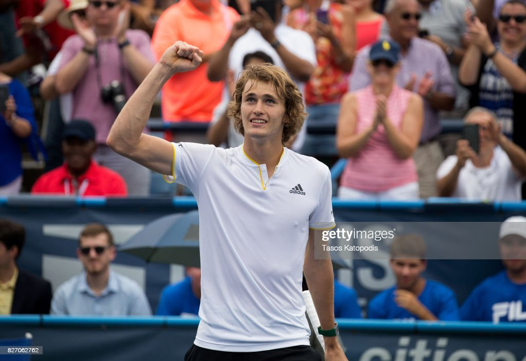 Alexander Zverev of Germany celebrates his win over Kevin Anderson of South Africa at William H.G. FitzGerald Tennis Center on August 6, 2017 in Washington, DC.