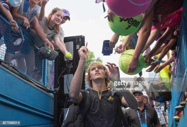 Alexander Zverev of Germany celebrates his win over Kevin Anderson of South Africa at William HG FitzGerald Tennis Center on August 6 2017 in...