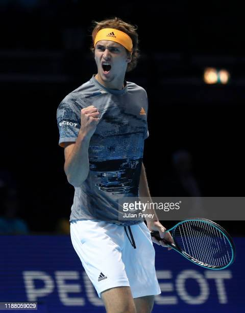 Alexander Zverev of Germany celebrates in his semi-final singles match against Dominic Thiem of Austria during Day Seven of the Nitto ATP Finals at...