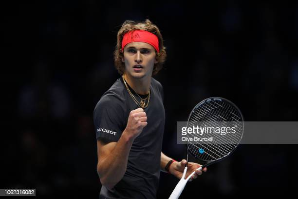 Alexander Zverev of Germany celebrates in his third singles round robin match against John Isner of The United States during Day Six of the Nitto ATP...