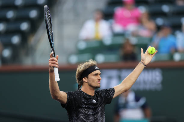 Alexander Zverev of Germany celebrates match point against Andy Murray of Great Britain during their third round match on Day 9 of the BNP Paribas...