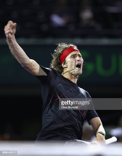 Alexander Zverev of Germany celebrates match point against David Ferrer of Spain in their third round match during the Miami Open Presented by Itau...