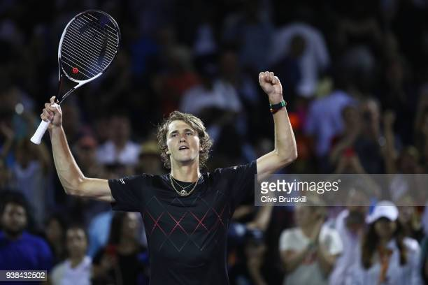 Alexander Zverev of Germany celebrates to the crowd after his three set victory against David Ferrer of Spain in their third round match during the...