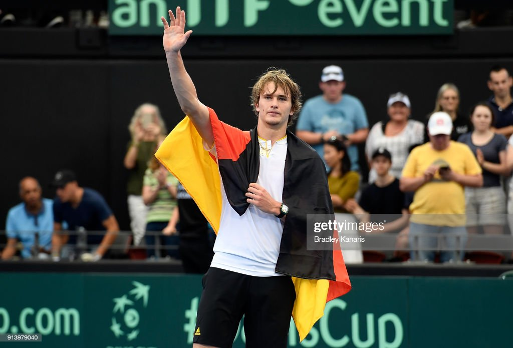 Alexander Zverev of Germany celebrates victory after defeating Nick Kyrgios of Australia during the Davis Cup World Group First Round tie between Australia and Germany at Pat Rafter Arena on February 4, 2018 in Brisbane, Australia.