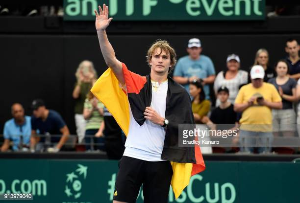 Alexander Zverev of Germany celebrates victory after defeating Nick Kyrgios of Australia during the Davis Cup World Group First Round tie between...