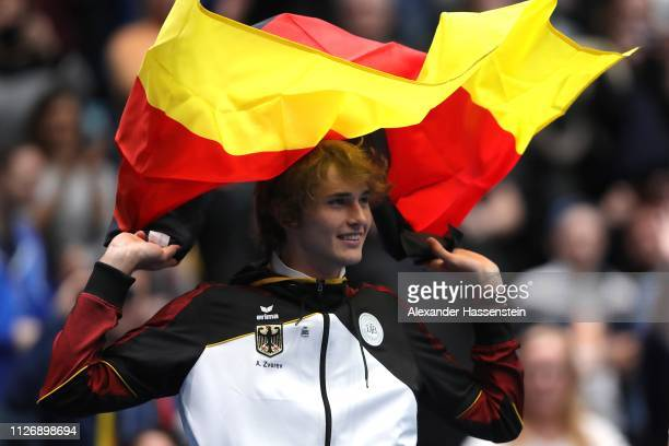 Alexander Zverev of Germany celebrates victory after the double match between Tim Puetz and JanLennard Struff of Germany and Gabor Borsos and Peter...
