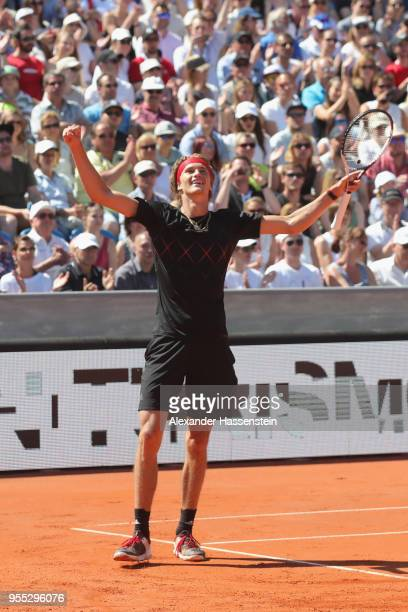 Alexander Zverev of Germany celebrates victory after winning his finalmatch against Philipp Kohlschreiber of Germany on day 9 of the BMW Open by FWU...