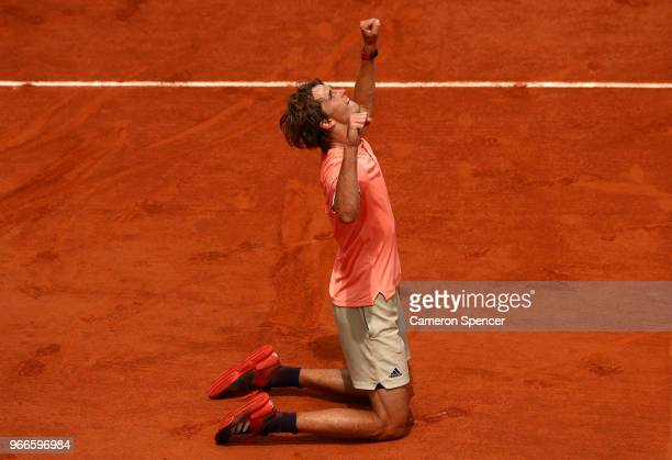 Alexander Zverev of Germany celebrates victory during the mens singles fourth round match against Karen Khachanov of Russia during day eight of the...