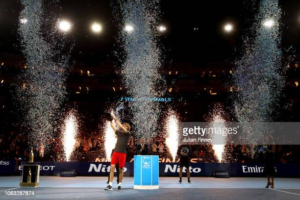 Alexander Zverev of Germany celebrates victory following the singles final against Novak Djokovic of Serbia during Day Eight of the Nitto ATP Finals...