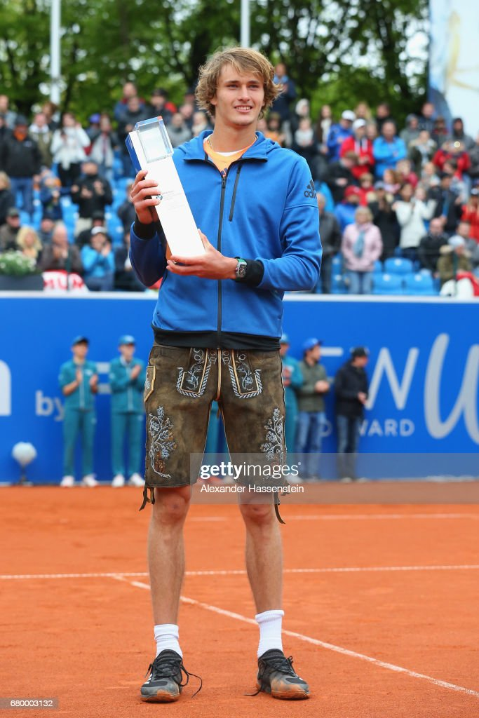 Alexander Zverev of Germany celebrates vwith the BMW Open by FWU winner's trophy after winning his finale match against Guido Pella of Argentina of the 102. BMW Open by FWU at Iphitos tennis club on May 7, 2017 in Munich, Germany.