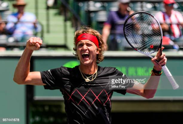 Alexander Zverev of Germany celebrates winning 64 16 76 against Daniil Mevedev of Russia on Day 6 of the Miami Open Presented by Itau at Crandon Park...
