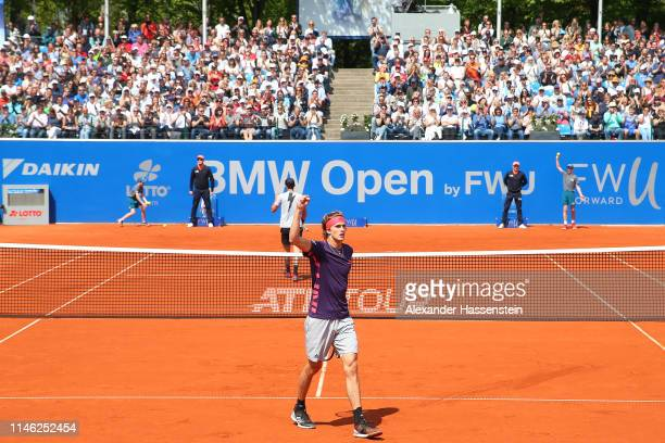 Alexander Zverev of Germany celebrates winning a point during his second round match against Juan Ignacio Londero of Argentina on day 5 of the BMW...