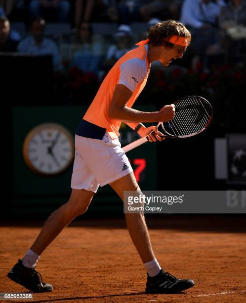 Alexander Zverev of Germany celebrates winning a point during his semi final match against John Isner of USA in The Internazionali BNL d'Italia 2017...