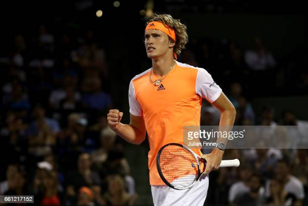 Alexander Zverev of Germany celebrates winning a point in his match against Nick Kyrgios of Australia at Crandon Park Tennis Center on March 30 2017...