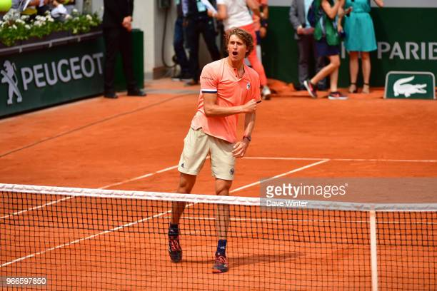 Alexander Zverev of Germany celebrates winning during Day 8 of the French Open 2018 on June 3 2018 in Paris France