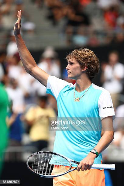 Alexander Zverev of Germany celebrates winning his first round match against Robin Haase of the Netherlands on day two of the 2017 Australian Open at...