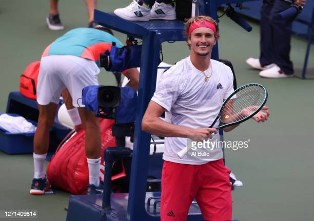 Alexander Zverev of Germany celebrates winning his Men's Singles quarterfinal match against Borna Coric of Croatia on Day Nine of the 2020 US Open at...