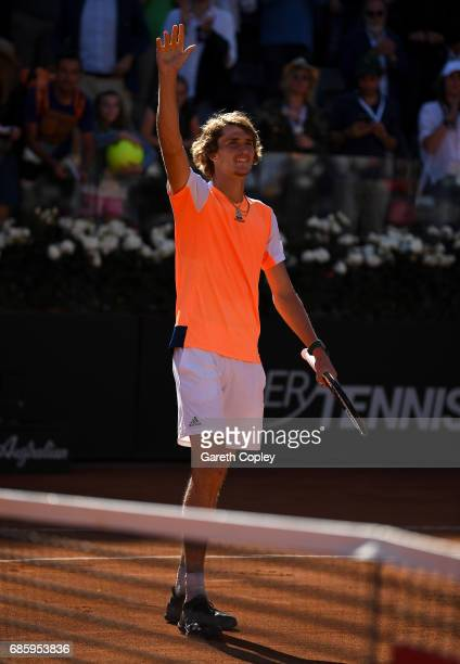 Alexander Zverev of Germany celebrates winning his semi final match against John Isner of USA in The Internazionali BNL d'Italia 2017 at Foro Italico...