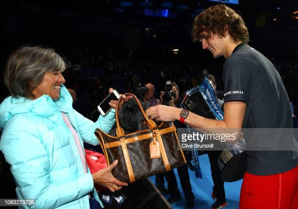 Alexander Zverev of Germany celebrates with his mum Irina Zvereva following the singles final against Novak Djokovic of Serbia during Day Eight of...