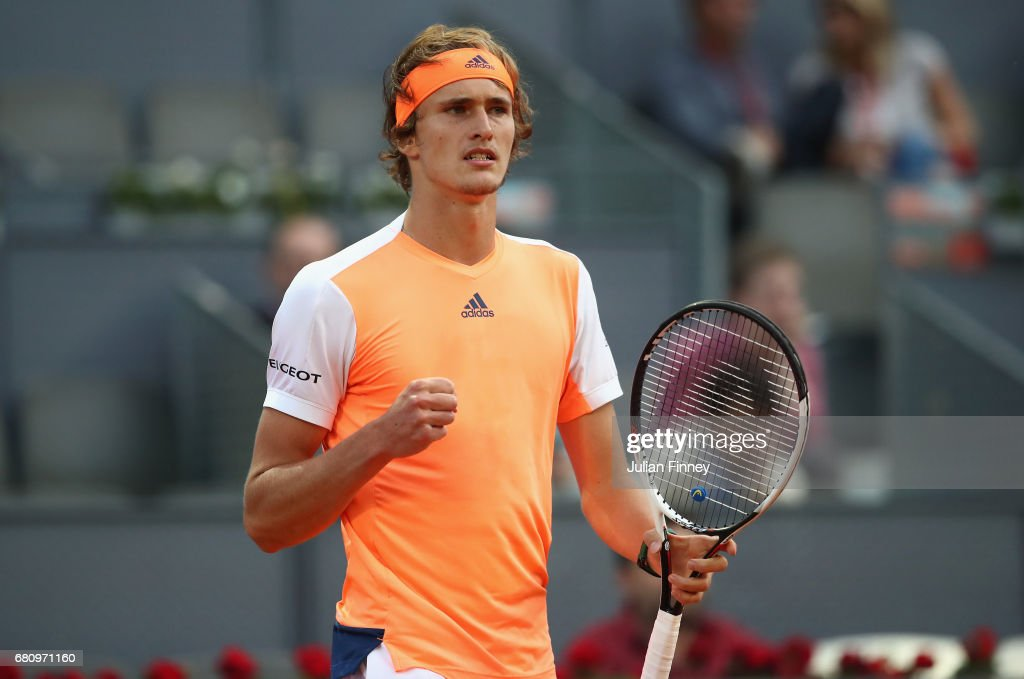 Alexander Zverev of Germany celerbates winning a game against Fernando Verdasco of Spain during day four of the Mutua Madrid Open tennis at La Caja Magica on May 9, 2017 in Madrid, Spain.