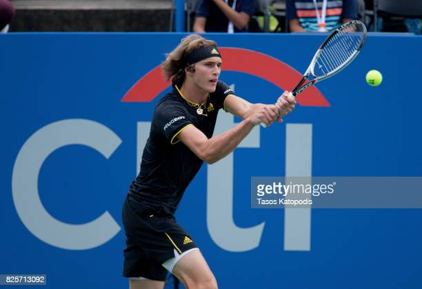 Alexander Zverev of Germany competes with Jordan Thompson of Australia at William HG FitzGerald Tennis Center on August 2 2017 in Washington DC