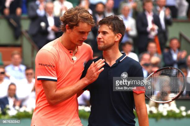 Alexander Zverev of Germany congratulates Dominic Thiem of Austria on victory following their mens singles quarter finals match during day ten of the...