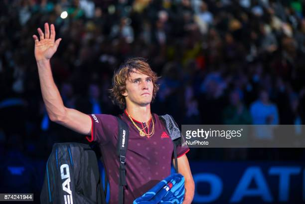 Alexander Zverev of Germany delusion after in the singles match against Roger Federer of Switzerland on day three of the Nitto ATP World Tour Finals...